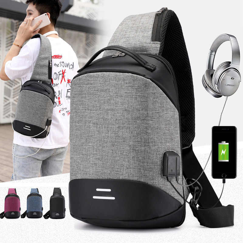 New Men Chest Bag With USB Charge Small Backpack Man Leisure Anti-theft Waterproof Oxford Cloth Multifunction Shoulder Bag 2019