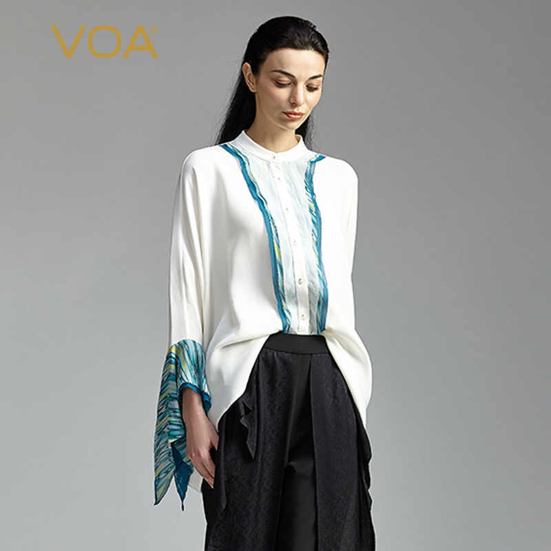 4798ef64 VOA Silk Blouse White Office Shirt Basic Women Tops Plus Size 5XL Casual  Flare Long Sleeve