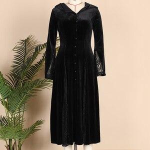 Image 5 - Maxivestido con capucha gótico de noche de brujas Vintage Sexy manga larga de llamarada de encaje Patchwork botón vestido largo cuello en V Empire Vestidos