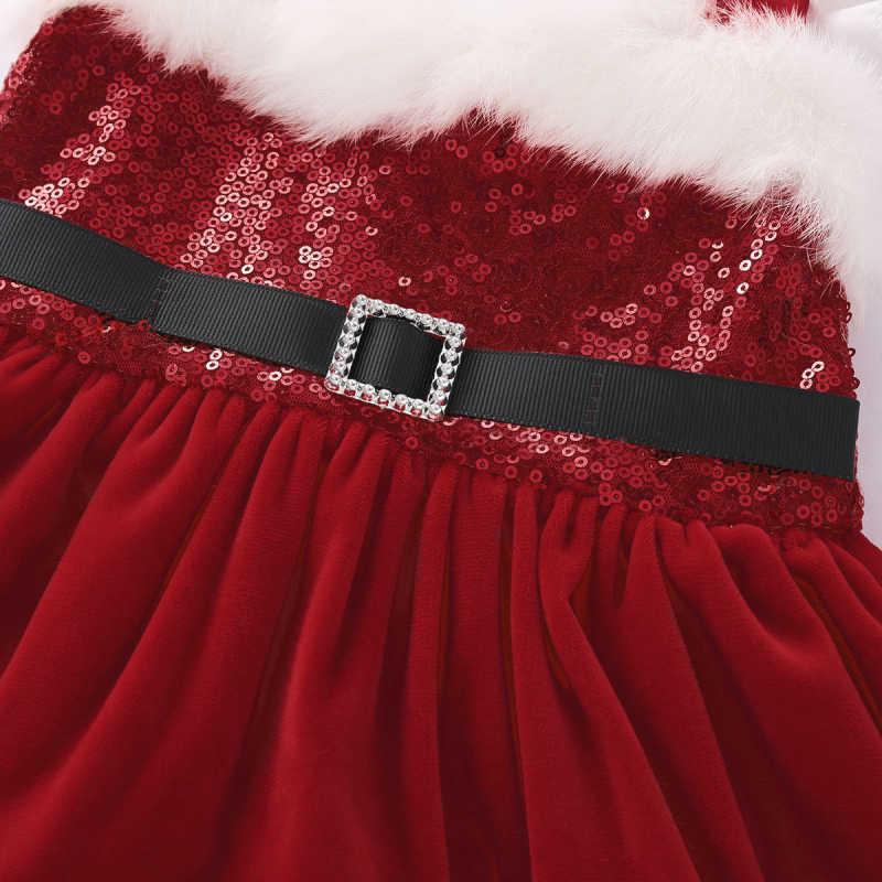 20ed715e5b01 ... 0-24M Christmas Newborn Baby Girl Velvet Romper Dress Sequin Sleeveless  Red Princess Tutu Dress ...