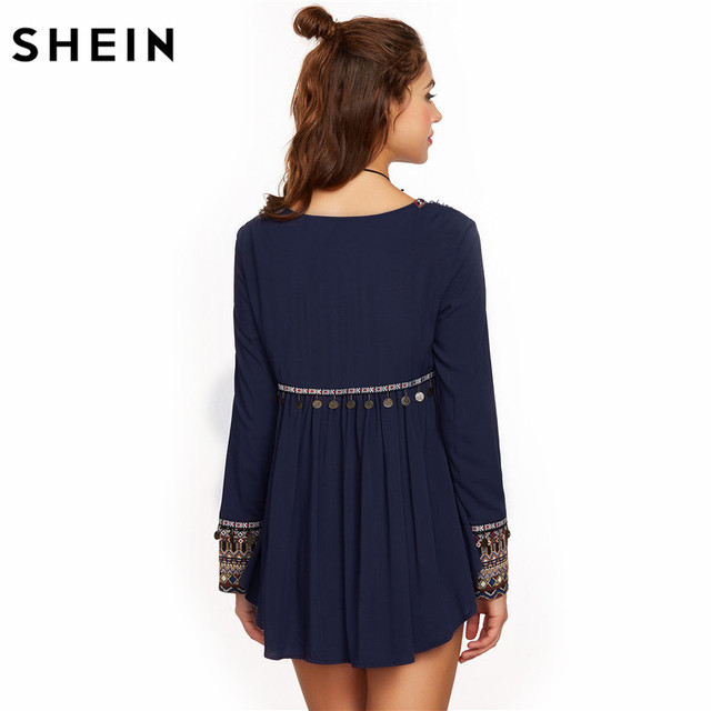 SHEIN Women Long Sleeve Blouse Autumn Ladies Blouses 2017 Embroidered Yoke and Cuff Coin Fringe Trim Vintage Blouse