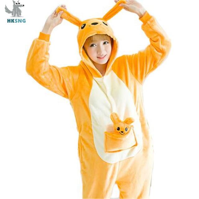 7eca8a0de6b4 HKSNG Unisex Animal Adult Kangaroo Kigurumi Pajamas Flannel Cartoon Family  Party Halloween Onesies Cosplay Costumes Sleepwear