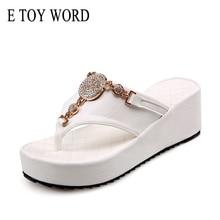Flip Flops Shoes Women Platform Sandals Rhinestone Ladies Beach Slippers White Black Size 42 43