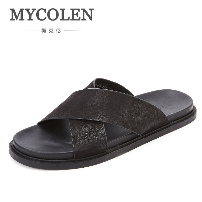 цена MYCOLEN Men'S Summer Luxury Product Non-Slip Slippers Couples Home Anti-Slip Slippers Black Slippers Beach Shoes Men'S