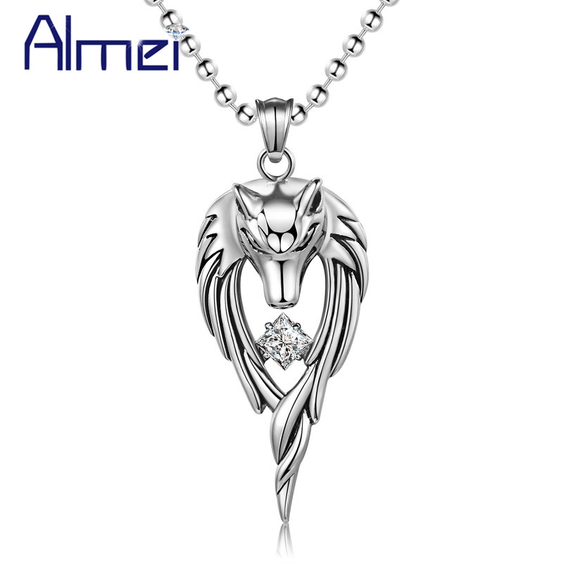 Almei 5% Punk Wolf Stainless Steel Anime Necklace M