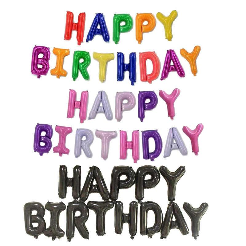 16 Inch Huruf HAPPY BIRTHDAY Foil Balon Ulang Tahun Pesta Dekorasi Anak-anak Alfabet Balon Udara Baby Shower Persediaan