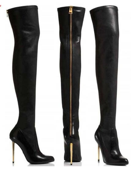 Thigh High Boots Gladiator Gold Heels