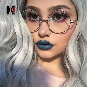 49d742f2fe SHAUNA Round Frame Glasses Retro Women Eyeglasses Men
