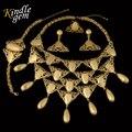 2017 Big Geométrica Avançado Personalização Manual Dubai Africano Banhado A Ouro Conjuntos de Jóias de Moda Bohemia Borlas Colar Conjunto