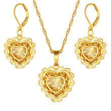African Habesha Set Ethiopia heart pendant Necklace/Earrings Gold Color Dubai Sudan women girls Wedding bridal jewelry Gift(China)
