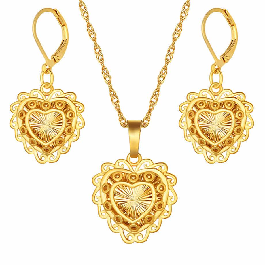 الأفريقي Habesha مجموعة إثيوبيا القلب قلادة قلادة/أقراط الذهب اللون دبي السودان النساء الفتيات الزفاف مجوهرات الزفاف هدية