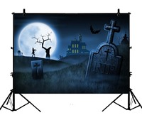 5x7ft Halloween Gloomy Cemetery Family Polyester Photo Background Portrait Backdrop