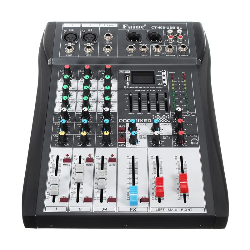 Faine Profissional bluetooth 4 Channel DJ Mixer Controller With USB LED Screen Metal DJ Mixing Console