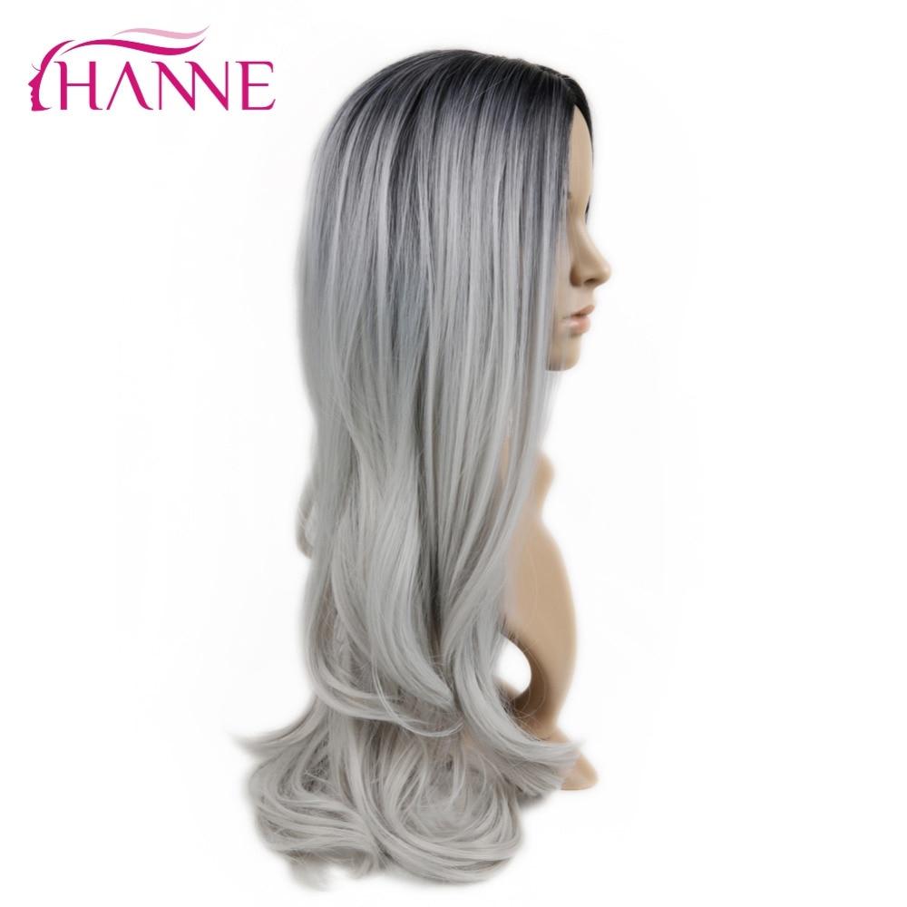 HANNE Svart till Ljusgrå 26inch Long Ombre Daywear eller Party Paryk - Syntetiskt hår - Foto 4