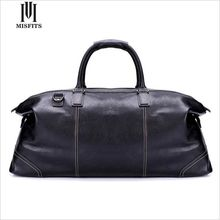 MISFITS 100% Genuine Leather Man Travel Bag  Retro Top Layer Cow Leather Vintage Duffle Bag Oil Wax Leather Traveling Bag WHB170