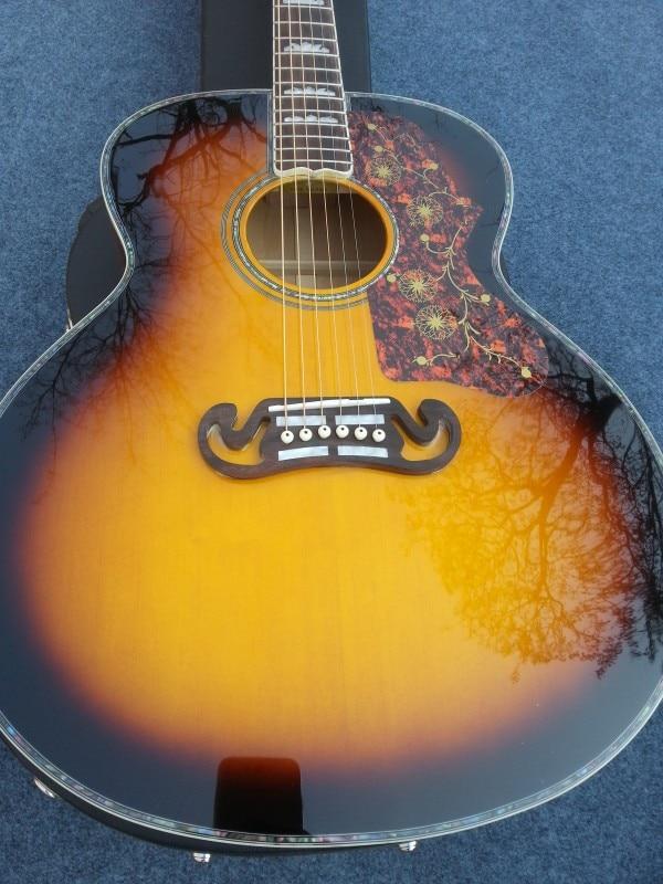 2015 neue + Fabrik + Chibson SJ200 Deluxe akustische gitarre flamme ahorn...