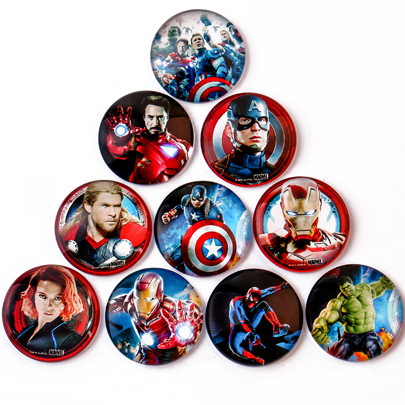 Marvel The Avengers Glass 10/12/14/16/20mm Round Pattern Handmade Glass Cabochons Bezel Pattern Domed DIY Jewelry Accessories