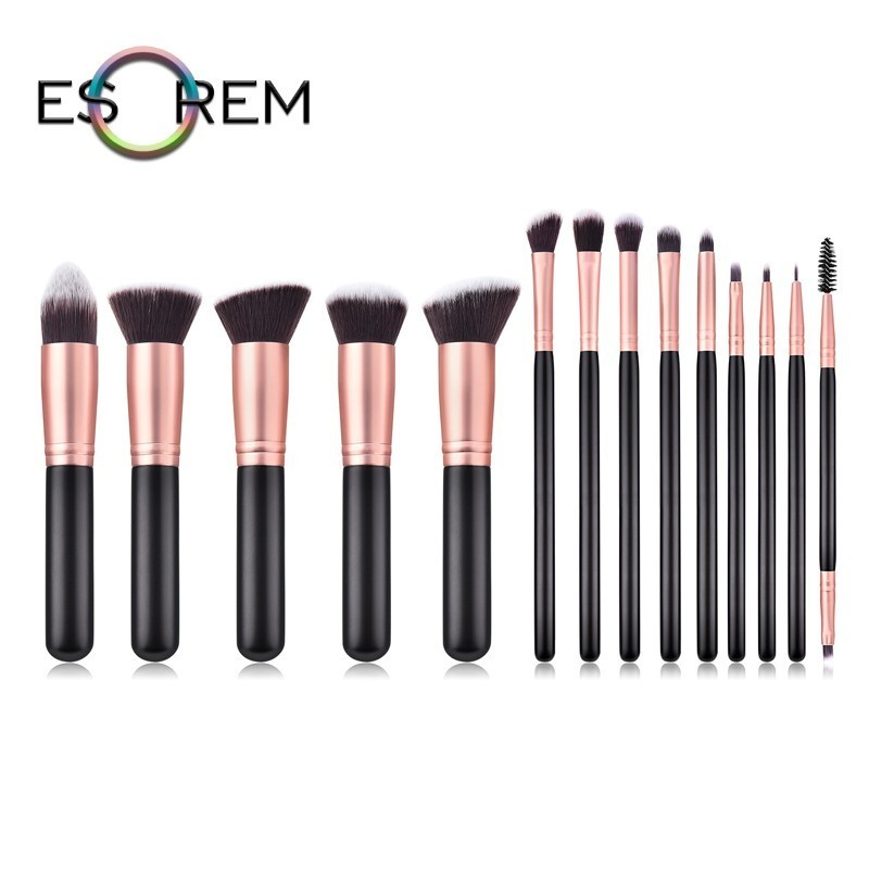 ESOREM 14pcs Synthetic Makeup Brushes Dual Eyelash Eyebrow Brush Angled Shading Stippling Eyeliner Pinceles Maquillaje