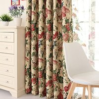 Shabby And Chic Flowers Jacquard Window Shades,Elegant European Rustic Bedroom Curtain,Custom Made Curtain,2Panels