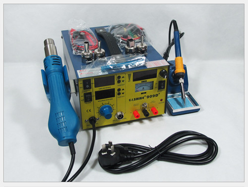 909D обновления saike 909D + 3 в 1 фена паяльная станция питания постоянного тока 220 В или 110 В