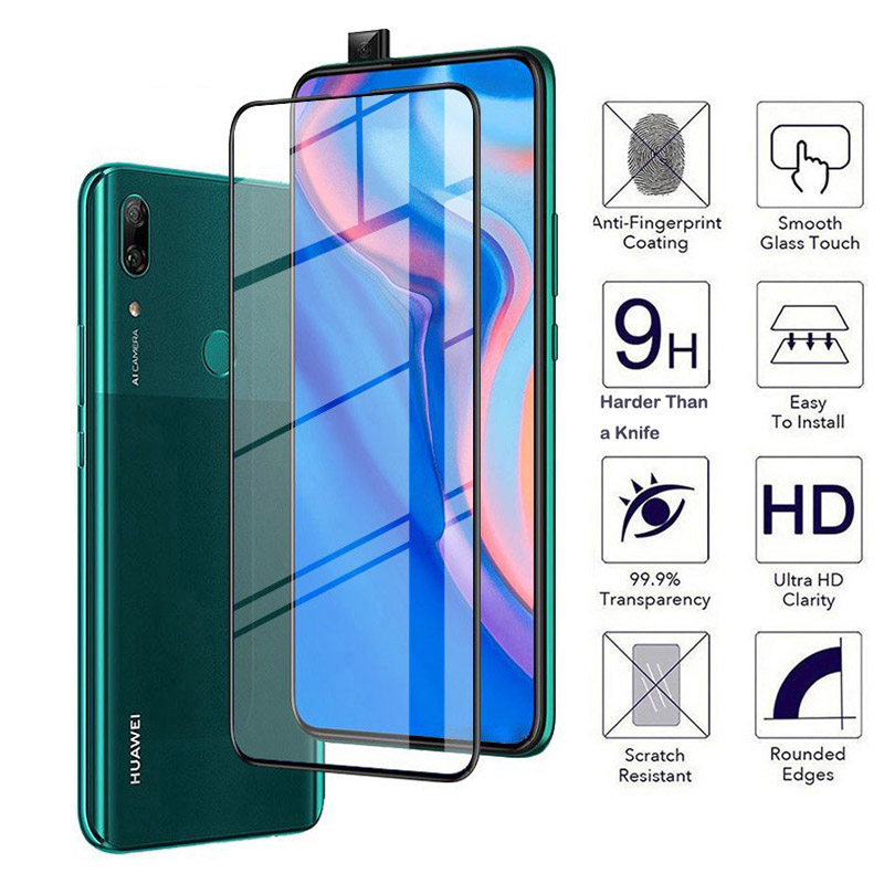 For Huawei P Smart Z Glass screen protector 9D Full Cover Protective film For hauwei Y9 Prime P Smart 2019 Glass psmart 9 y  LX1-in Phone Screen Protectors from Cellphones & Telecommunications