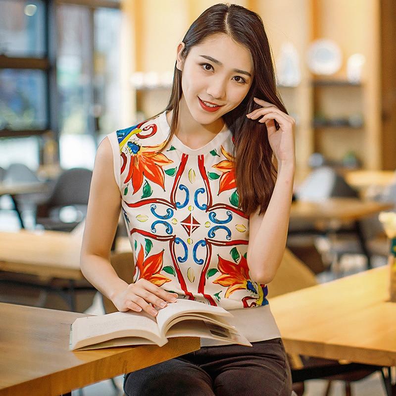 Gilet 2019 See Nouveau Manches shirts Européenne Chart Sans Soie D'été T Couleur De Imprimé Femmes XEUwqE