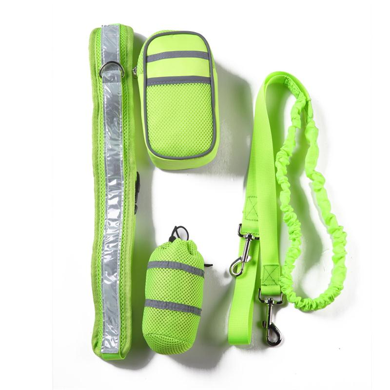 Elastic Running Dog Leash Set with Reflective Strip Hands Free Pet Cat Leash Collar + Zipper Bag + Bottle Holder for Pet