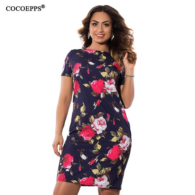 COCOEPPS осень Цветочный принт женское платье 2018 Винтаж плюс Размеры Для женщин Костюмы платья большой Размеры женские офисные платья 5XL 6XL