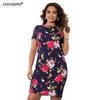 COCOEPPS Jesień Floral Print Kobiety Sukienka 2017 Vintage Plus Size kobiety Odzież Sukienki Duże Rozmiary Panie Biurowe Vestidos 5XL 6XL