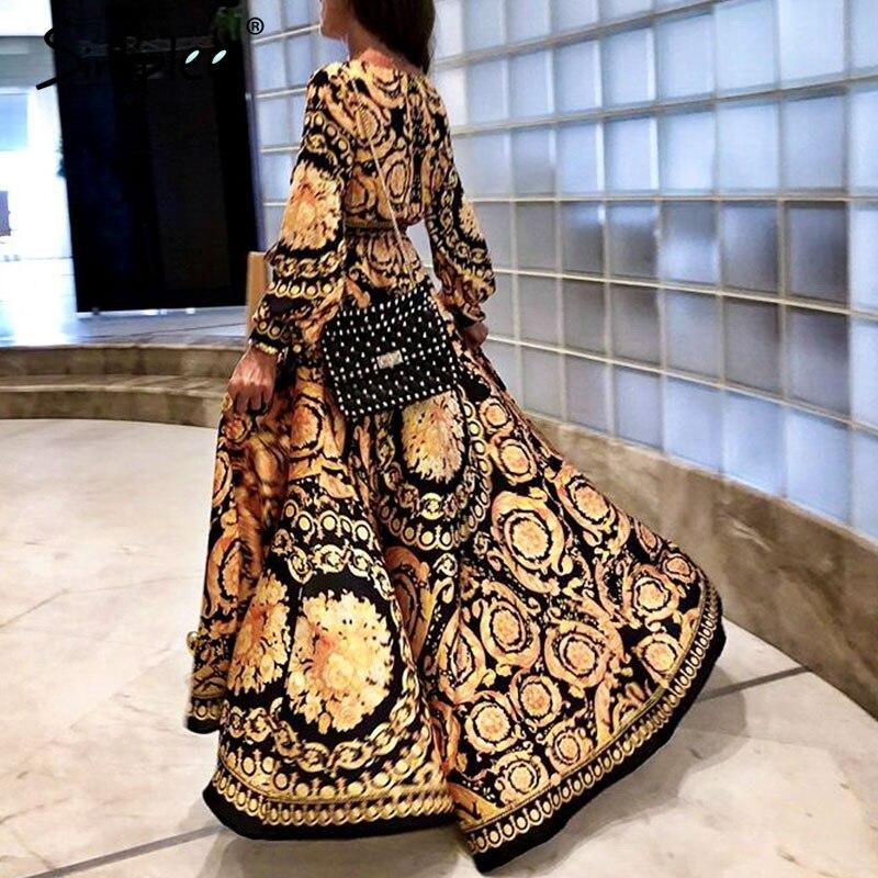 Simplee винтажное длинное женское платье с цветочным принтом летнее сексуальное с длинным рукавом Дворцовое Макси платье Пейсли 2019 халат в сти...