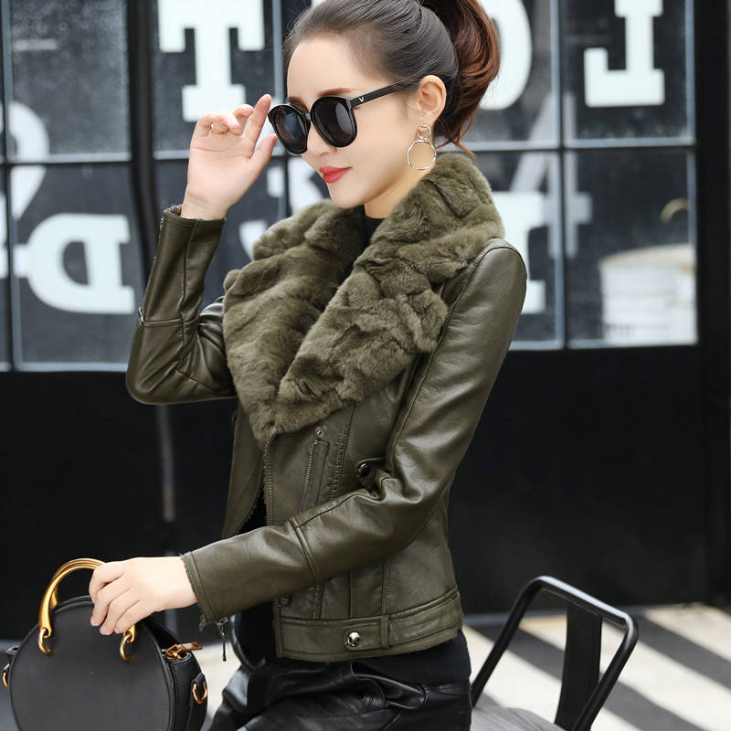 Fashion Faux Rabbit Fur Collar Plus Velvet Short   Leather   Jacket Coat Women Black Slim Quilted Cotton Winter Jacket Women C4882