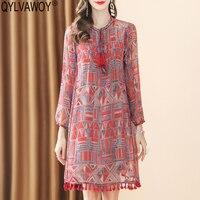 Винтажное корейское Летнее шелковое платье 100% 2019 повседневное пляжное красное мини платье женские платья Элегантное бохо платье Vestidos YBSL166