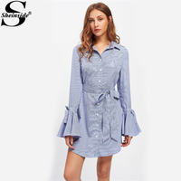 Sheinside Pearl Beaded Belted Waist And Flare Sleeve 	Elegant Dress Ladies Blue Striped Long Sleeve Casual A Line Dress