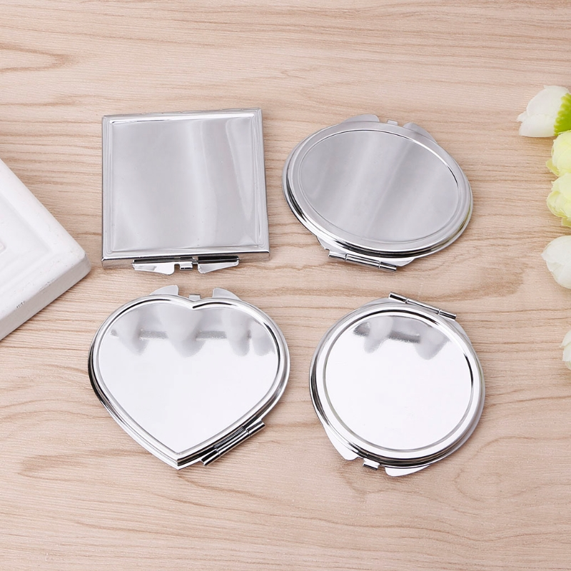 Portable Women Stainless Steel Makeup Mirror Hand Pocket Folded-Side Cosmetic Make Up Mirror Small Various Shapes Double