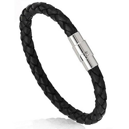 Men Black Leather Bracelet...