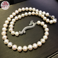WEICOLOR Dragon Necklace! 7.5 8.5mm Nearound Shiny White Cultured Freshwater Pearls With High Quality Silver Dragon!