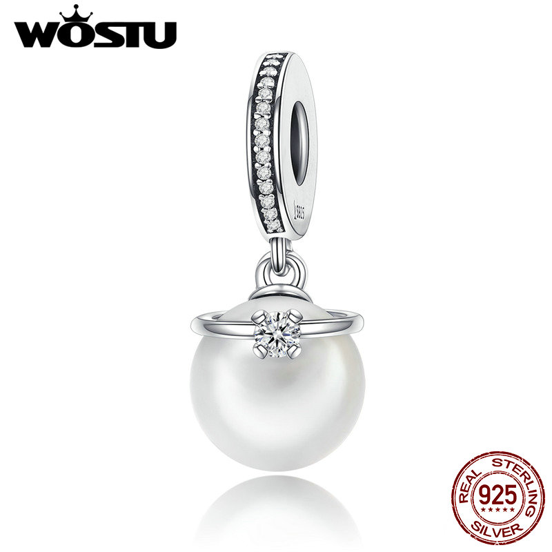 2017 Real 925 Sterling Silver & Pearl with CZ Ring Dangle Beads Fit Original WST Charm Bracelet Fashion Jewelry CQC137 silver silver 925 bead sterling silver beads pearl - title=
