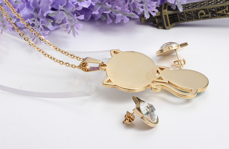 High plating cats pendant with earring dubai african stone beads bridal jewelry set