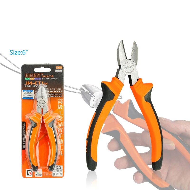 Alicates diagonales de corte de Cable eléctrico de 6 pulgadas JAKEMY Herramientas de mano Nipper de acero cromado de alta dureza