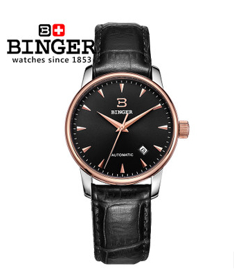 Binger Mens Black Dial Leather Date Wristwatch Fashion Rose Gold watches Automatic mechanical Watch With Gift Box Free Ship binger genuine gold automatic mechanical watches female form women dress fashion casual brand luxury wristwatch original box