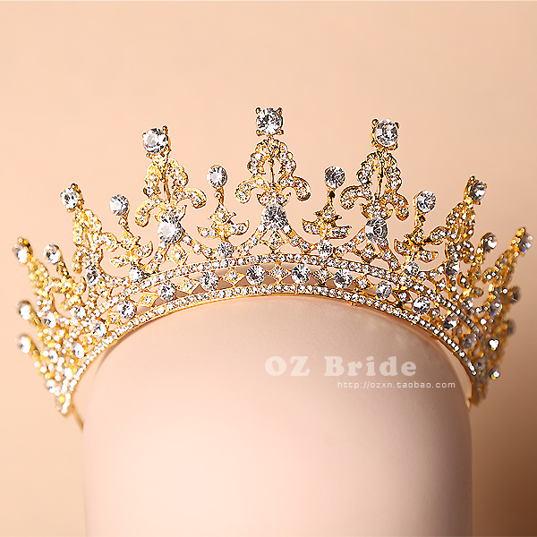 2015 new Australian version palace Luxury tiara wedding hair jewelry bridal headdress golden crown novia