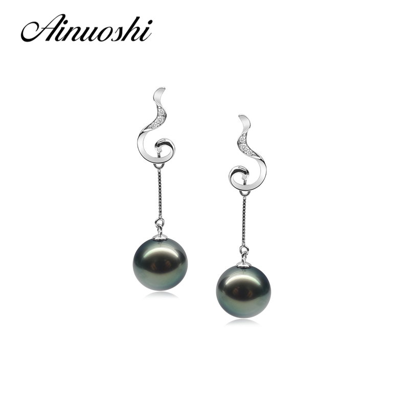 AINUOSHI Luxury 925 Sterling Silver Drop Earrings Natural South Sea Black Tahiti Pearl 9-9.5mm Round Pearl Women Drop Earrings triangle round drop earrings