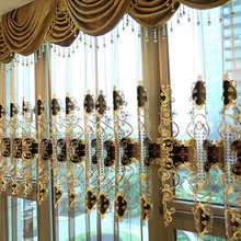 European luxury brown embroidered gold curtain living room with sheer hotel fit bedroom home decor