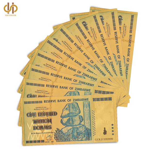 10pcs Lot Zimbabwe 100 Trillion Gold Dollars Pure 999999 Money Currency Bill Collection