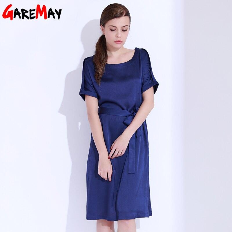 Vestido de satén para mujer Elegante talla grande Vestido azul - Ropa de mujer - foto 4