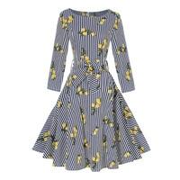 Sisjuly Hot Autumn 1950s Vintage Dresses Elegant Women Female Party Dress Retro Three Quarter Flower Print