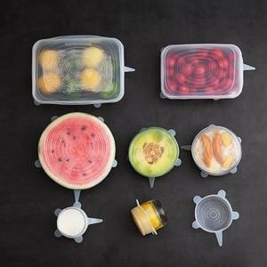 Image 3 - Couvercles de cuisine universels, extensibles, pour Pot, 6 pièces, bouchons de cuisine, extensibles, réutilisables