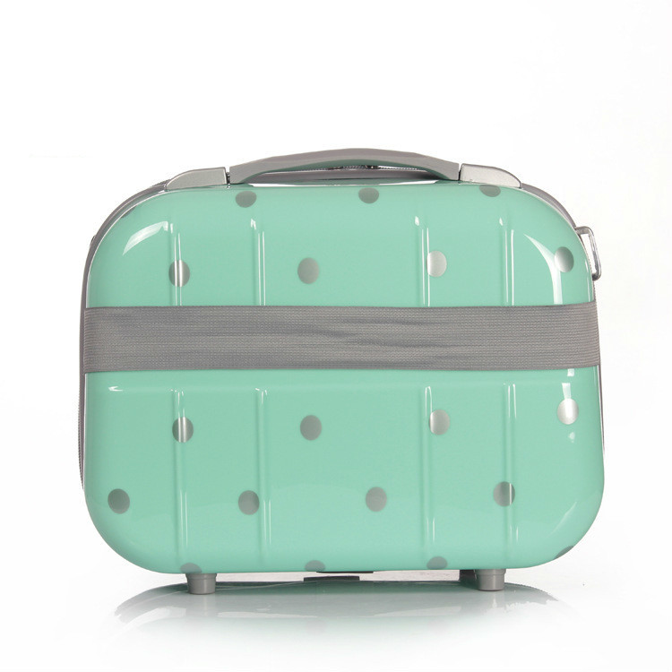 14 Inch Fashion Lovely Makeup luggage Accessories Polka Dot Cute Cosmetic Make up travel suitcase