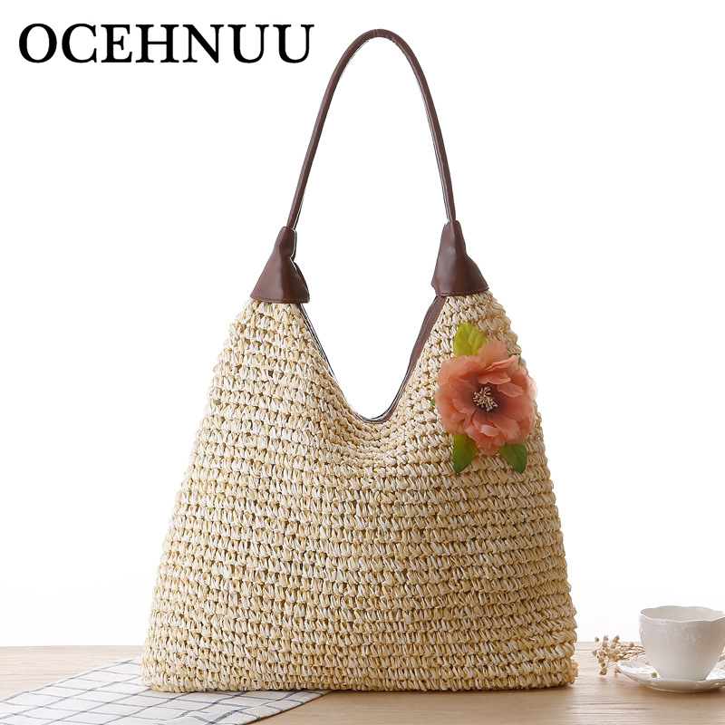 OCEHNUU Summer Vacation Women Beach Bags straw Totes Bag 2020 Bolsa Feminina Big Fashion Women's Bags Shoulder Bag Flower Zipper