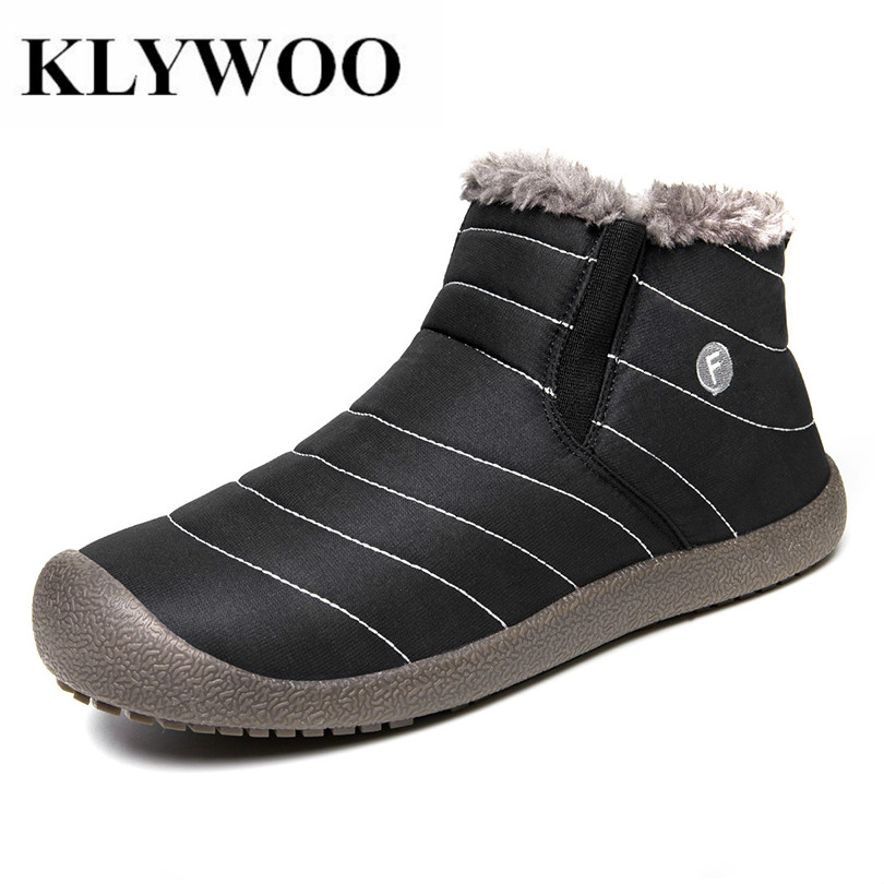 KLYWOO Big Size 36-48 Men Winter Snow Shoes Fashion Mens Boots Waterproof Ankle Boots Plush Warm Brand Mens Fur Boots Botas qiyhong brand waterproof winter warm snow boots men cow split leather motorcycle ankle fashion high cut male casual clearance